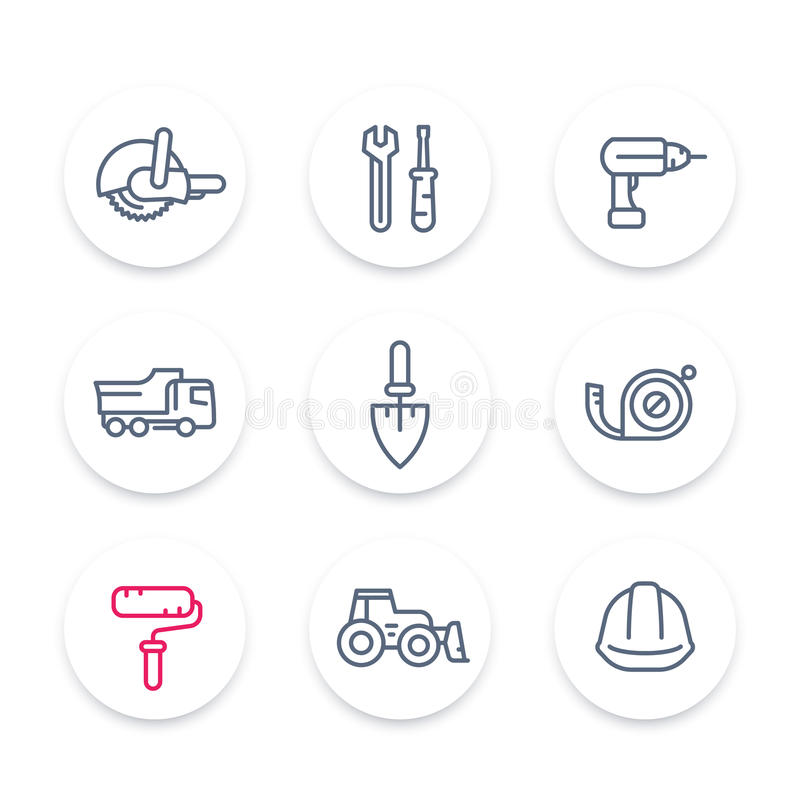 Construction line icons, construction equipment and tools linear signs, pictograms, round icons set. Vector illustration vector illustration