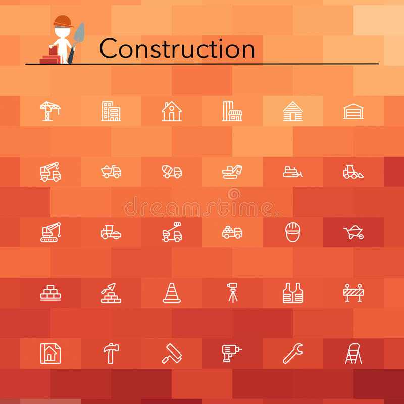 Construction Line Icons stock illustration