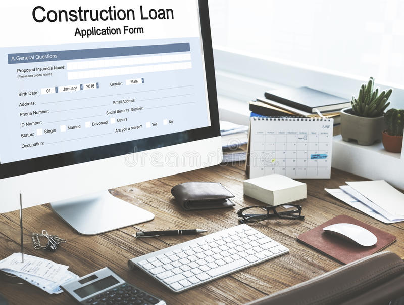 Construction Loan Application Form Concept. Computer Screen Construction Loan Application Form stock photo