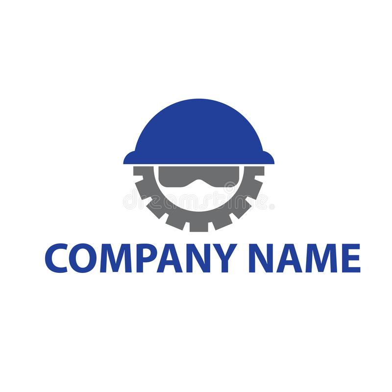 Construction logo with helmet gear and safety glasses vector illustration