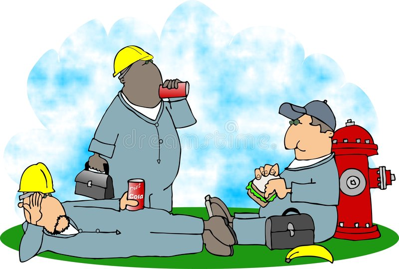 Download Construction lunch break stock illustration. Image of male - 519051