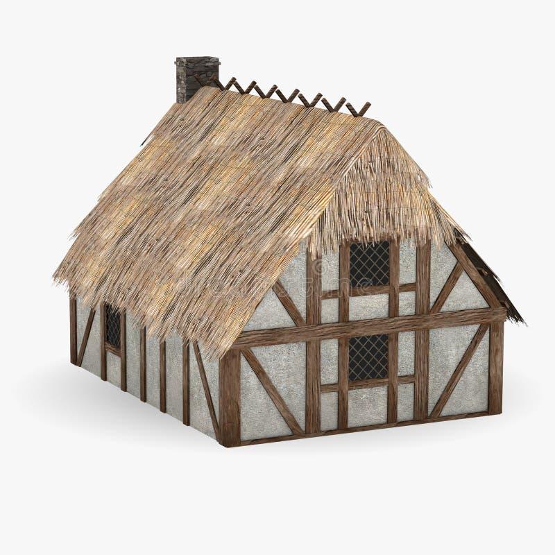 Construction médiévale - maison classique de famille illustration stock