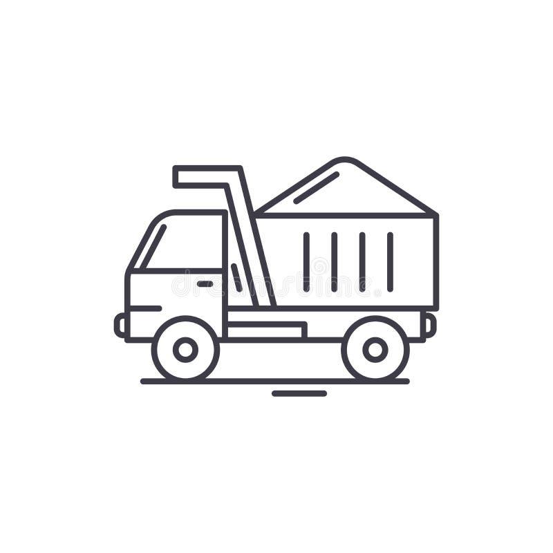 Construction machine line icon concept. Construction machine vector linear illustration, symbol, sign. Construction machine line icon concept. Construction vector illustration