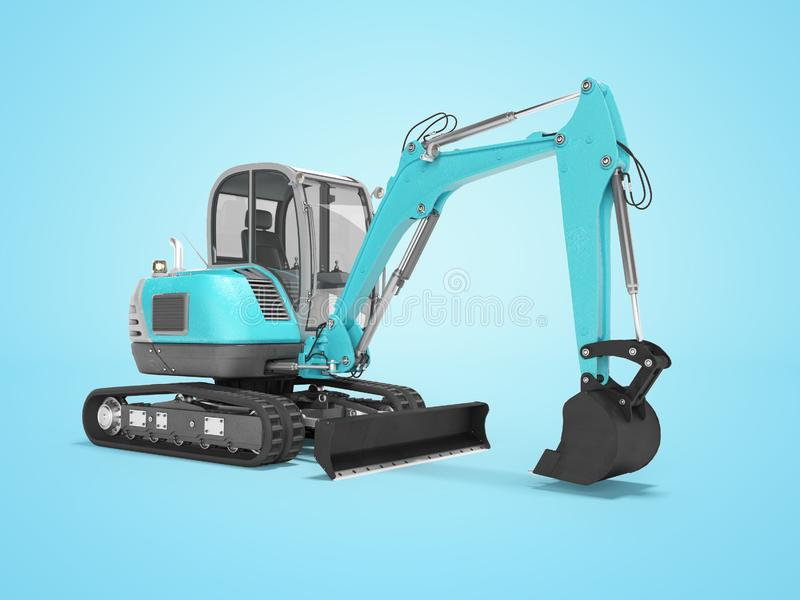 Construction machinery blue excavator with hydraulic mechlopatoy on crawler with bucket 3d render on blue background with shadow. Construction machinery blue vector illustration