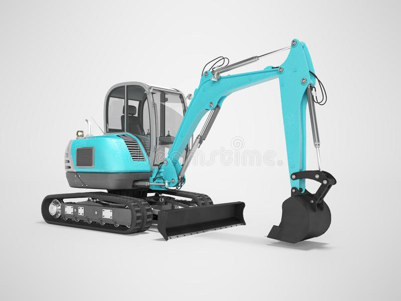 Construction machinery blue excavator with hydraulic mechlopatoy on crawler with bucket 3d render on gray background with shadow. Construction machinery blue royalty free illustration