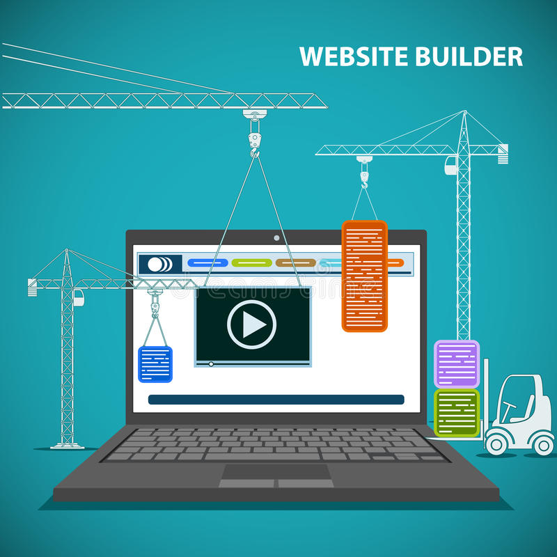 Construction machinery is building a website on a laptop. Flat graphic. Creating a web page design. Stock illustration stock illustration