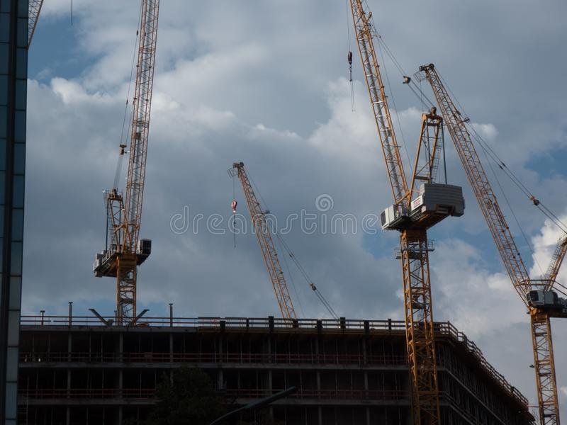 Construction machinery, cranes royalty free stock images