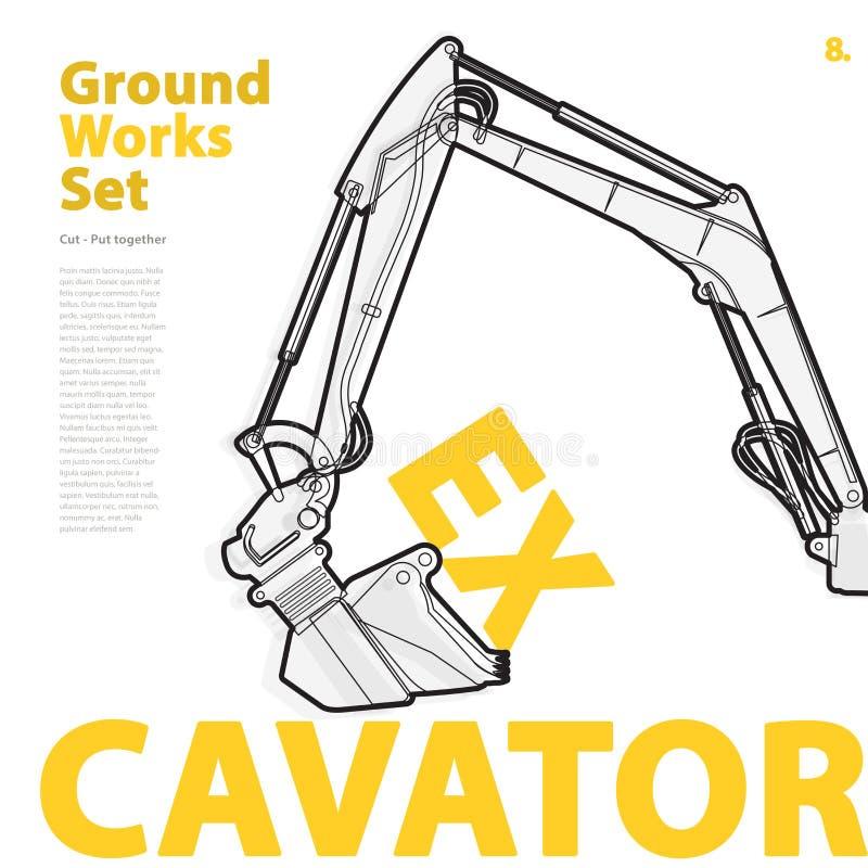 Construction machinery, excavator. Typography set of ground works machines vehicles. vector illustration