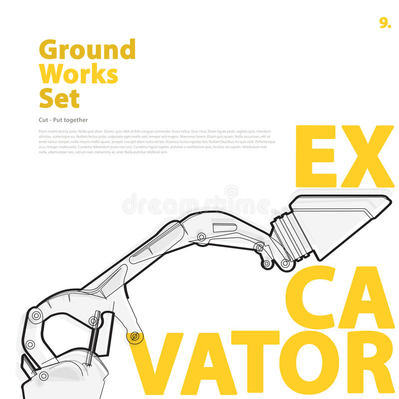 Construction machinery, excavator. Typography set of ground works machines vehicles. royalty free illustration
