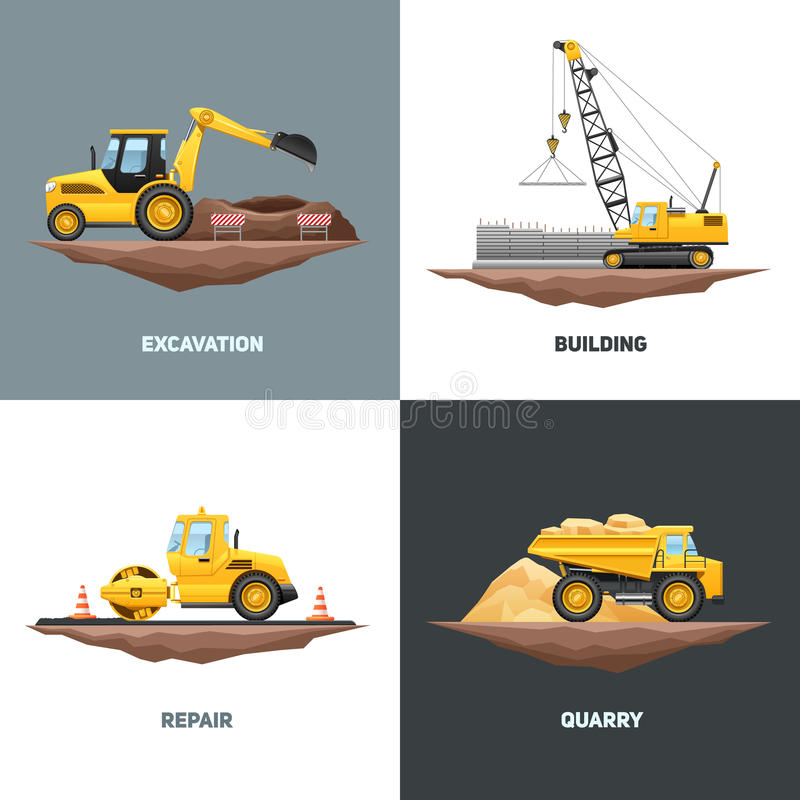 Construction Machinery 4 Flat Icons Square royalty free illustration