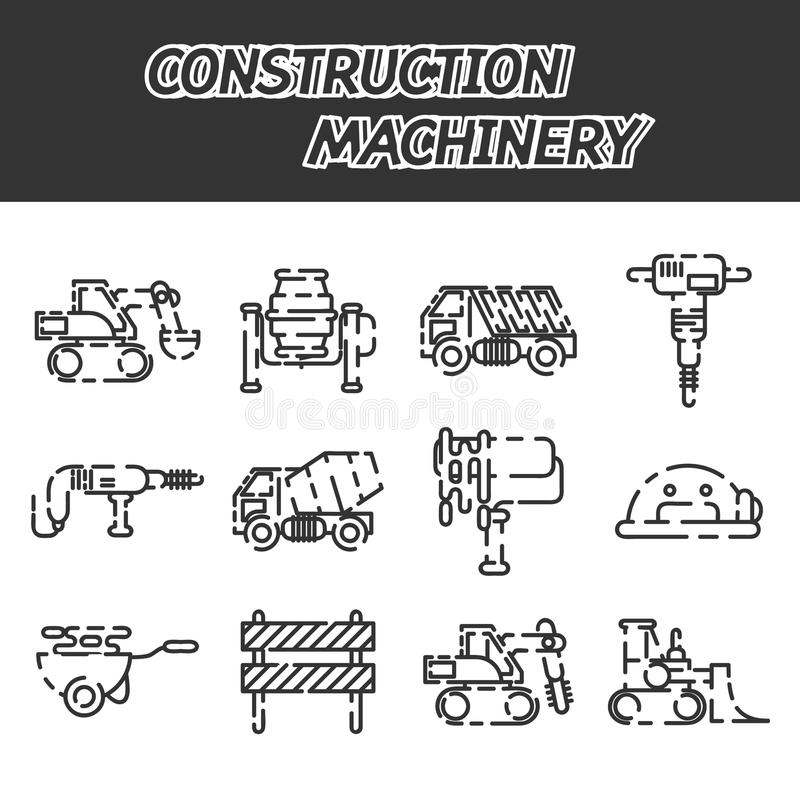 Construction machinery icon set. Construction machinery set design isolated on white background. Tall crane lifts the concrete slab or releases. Heavy machine stock illustration