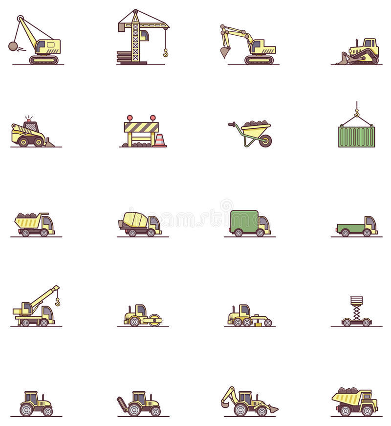Construction machinery icon set stock illustration