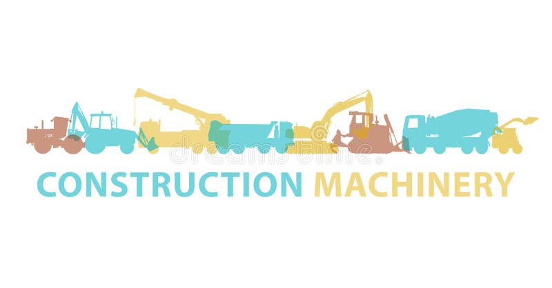 Construction machinery icon symbol. Ground works sign. Machines vehicles brand. vector illustration