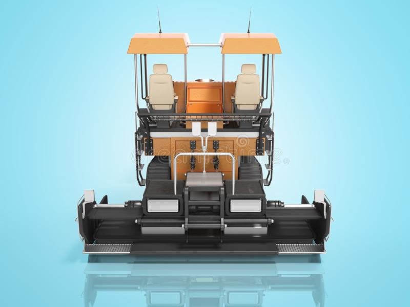 Construction machinery orange paver to create road 3d render on. Construction machinery orange paver to create road 3d render royalty free illustration