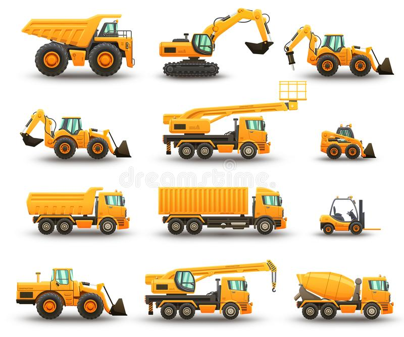 Construction machinery set royalty free illustration