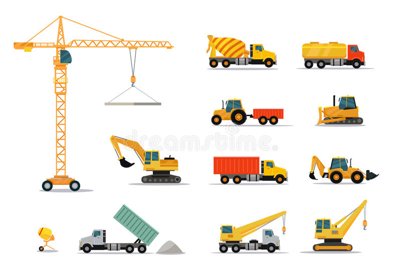 Construction Machinery Set Design Flat vector illustration