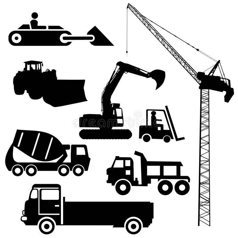 Heavy Equipment Silhouette : Construction machinery silhouettes stock vector