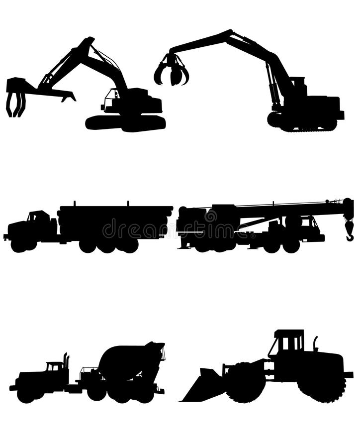 Construction machinery silhouettes vector illustration