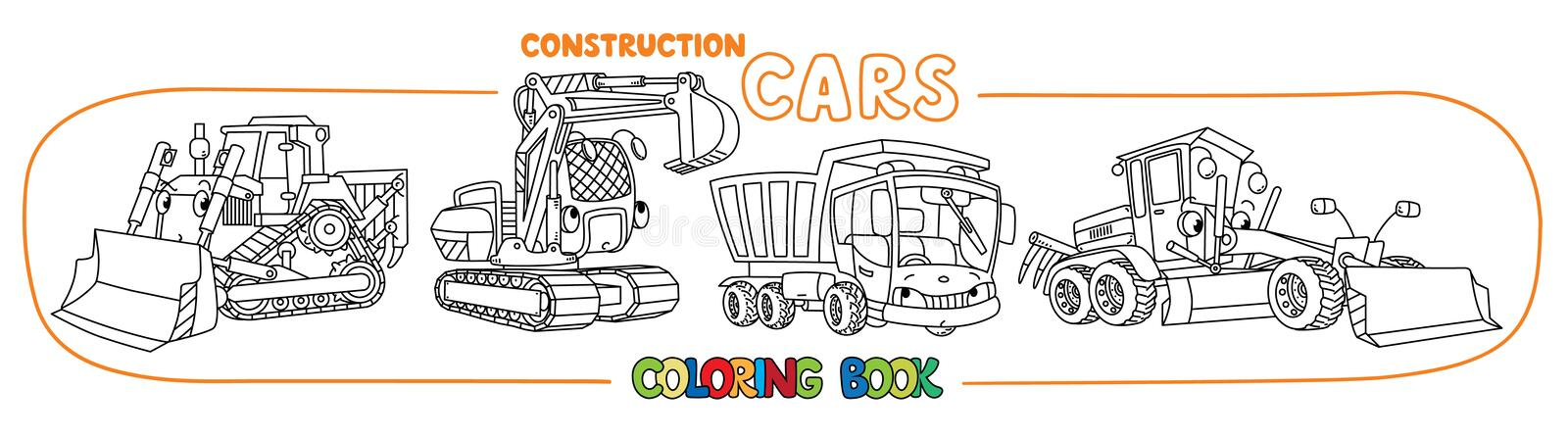 Construction machinery transport coloring book stock illustration