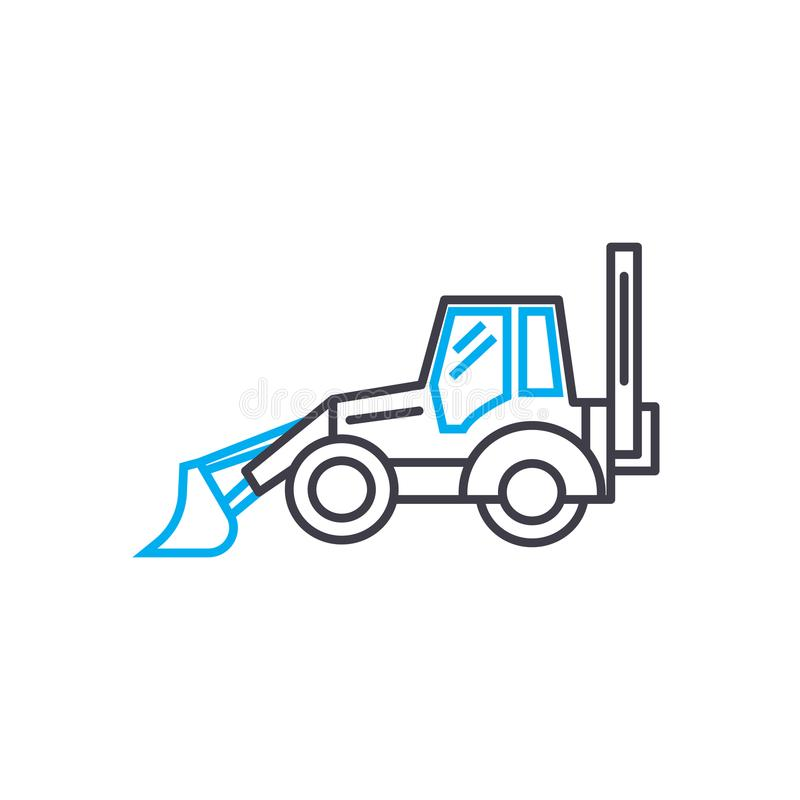 Construction machinery vector thin line stroke icon. Construction machinery outline illustration, linear sign, symbol. Isolated concept vector illustration