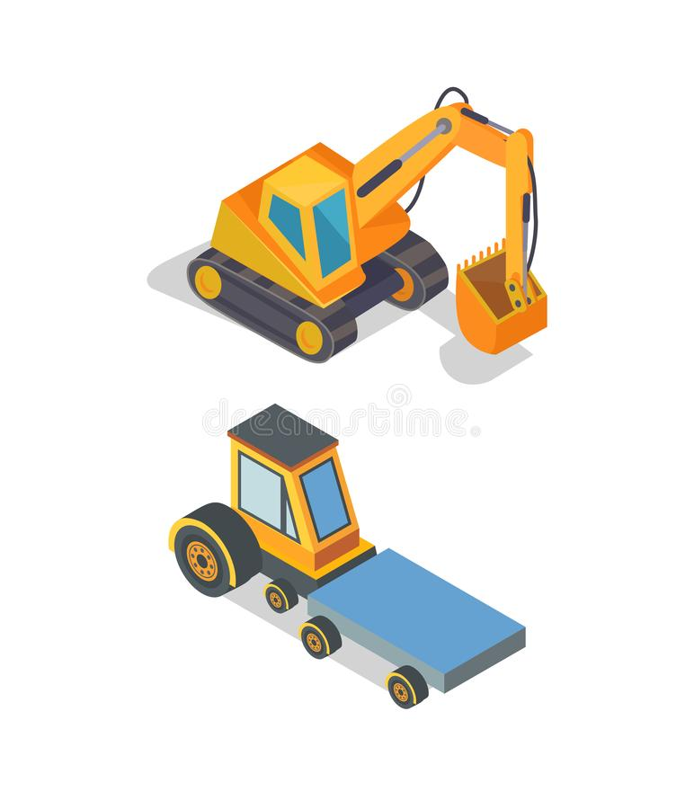 Construction Machines Excavator and Transport. Construction machines, excavator and transport vector. Transporting vehicle, bulldozer with shovel to excavate vector illustration