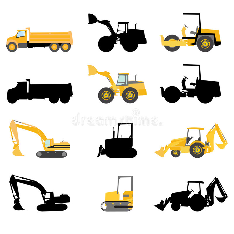 Construction machines vector vector illustration