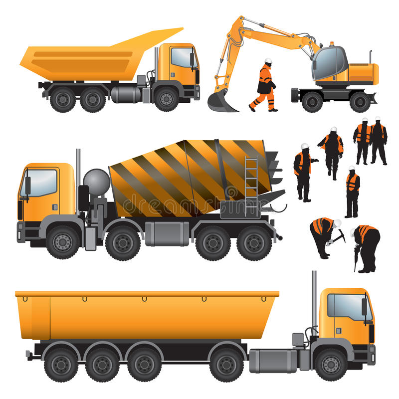 Construction machines and workers royalty free illustration