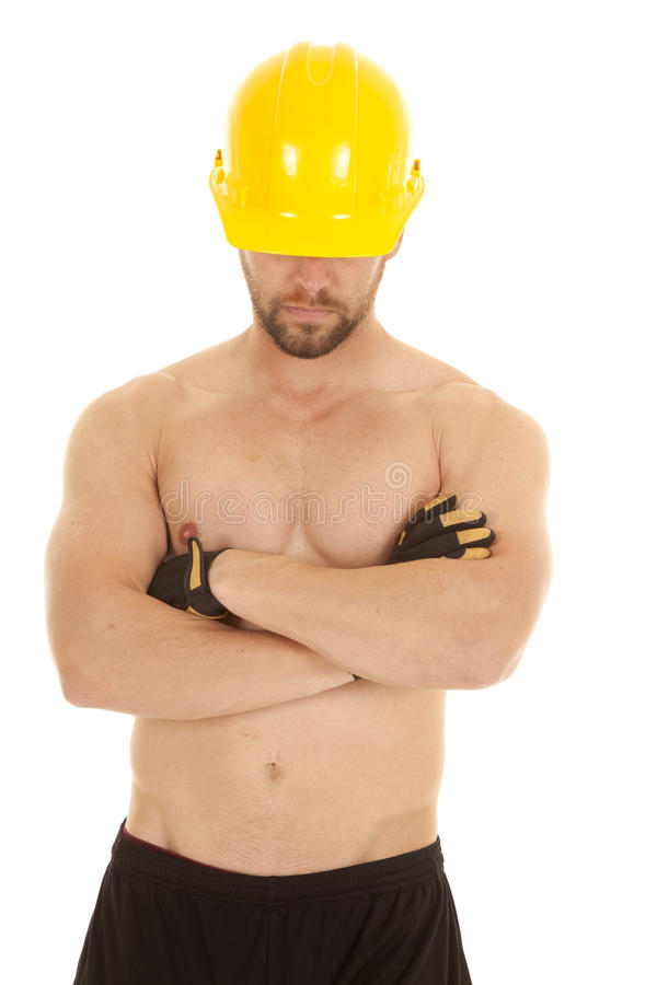 Construction man head down royalty free stock images