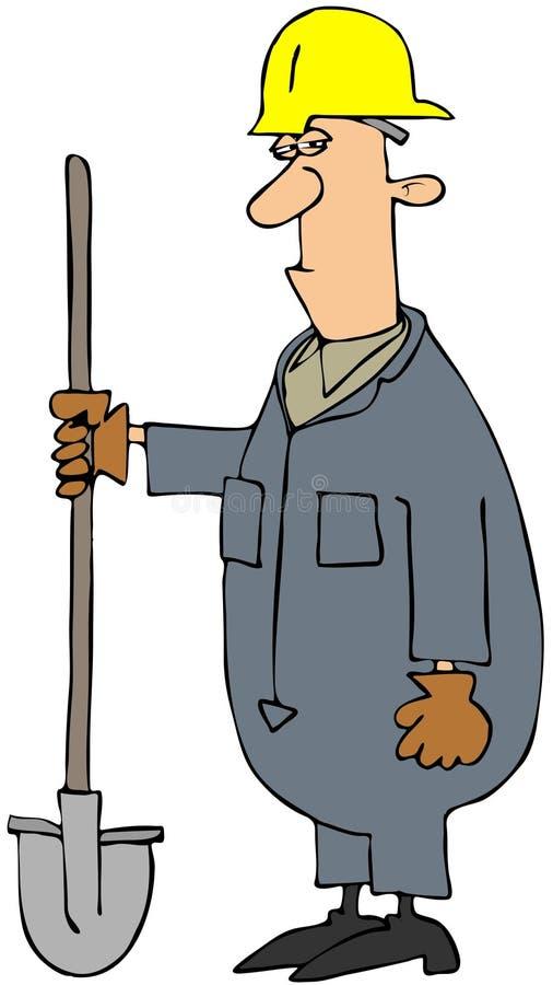Construction Man Holding A Shovel stock illustration