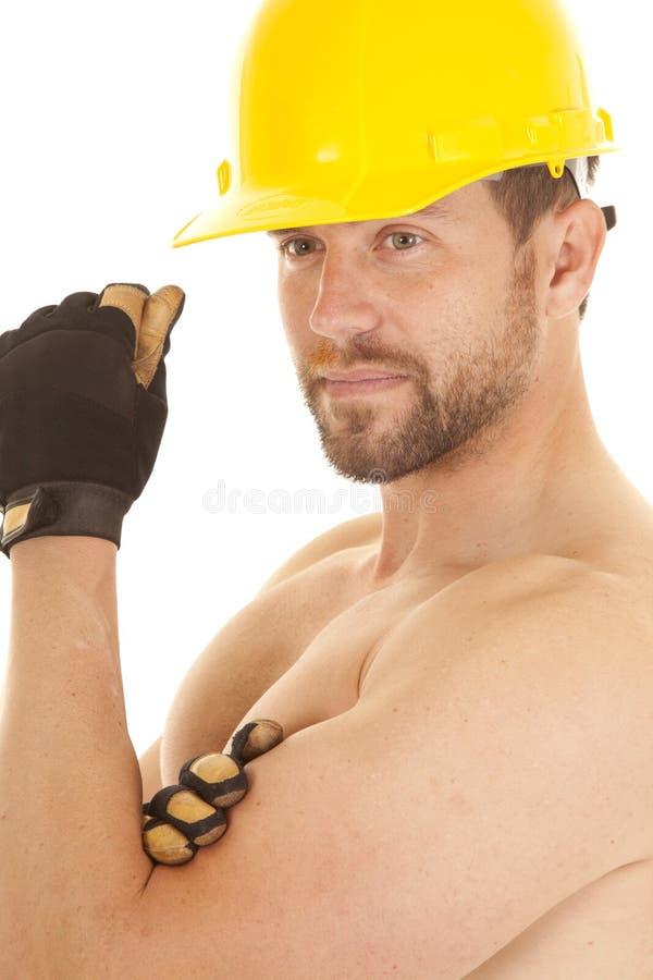 Construction man no shirt royalty free stock images