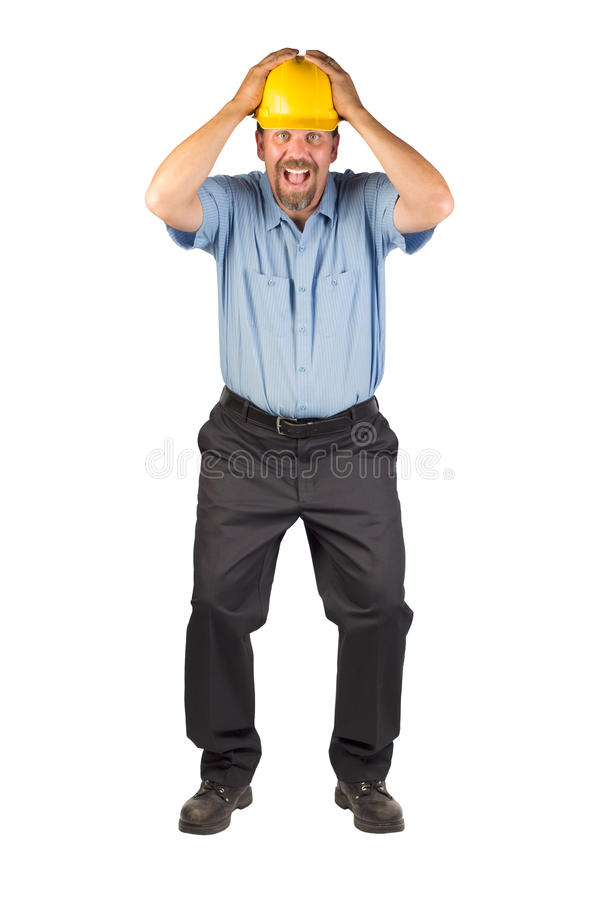 Construction Man Taking Cover stock image