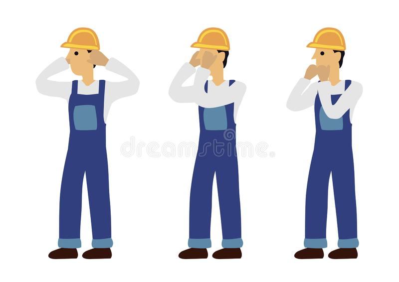 Construction man in three expression of see no evil, speak no evil and hear no evil. Concept of wisdom or ignorance. Flat isolated vector illustration stock illustration