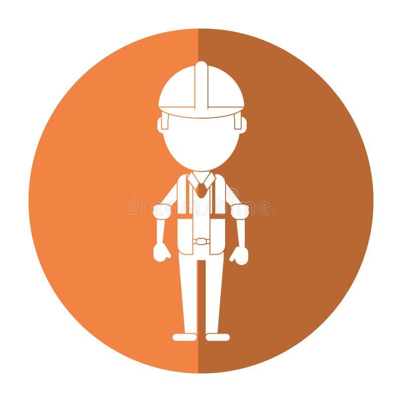 Construction man wearing vest helmet protection shadow vector illustration