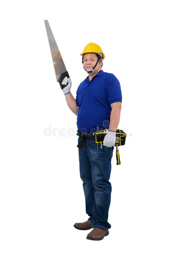 Construction man workers in blue shirt with Protective gloves, helmet with tool belt hand holding saw isolated on white. Backround with clipping path stock photography