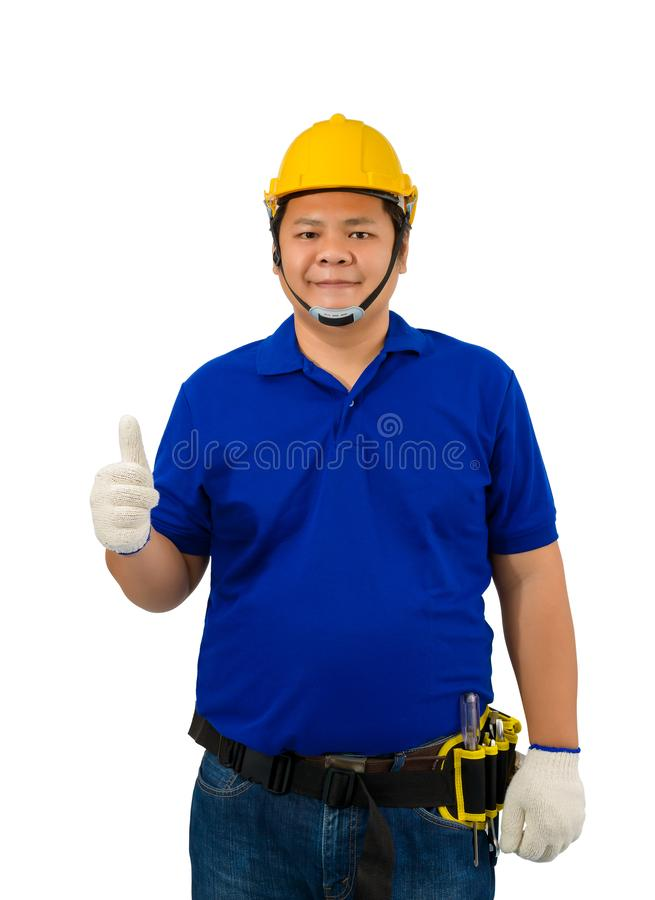 Construction man workers in blue shirt with Protective gloves, helmet with tool belt and Thumbs up isolated on white. Backround with clipping path stock image