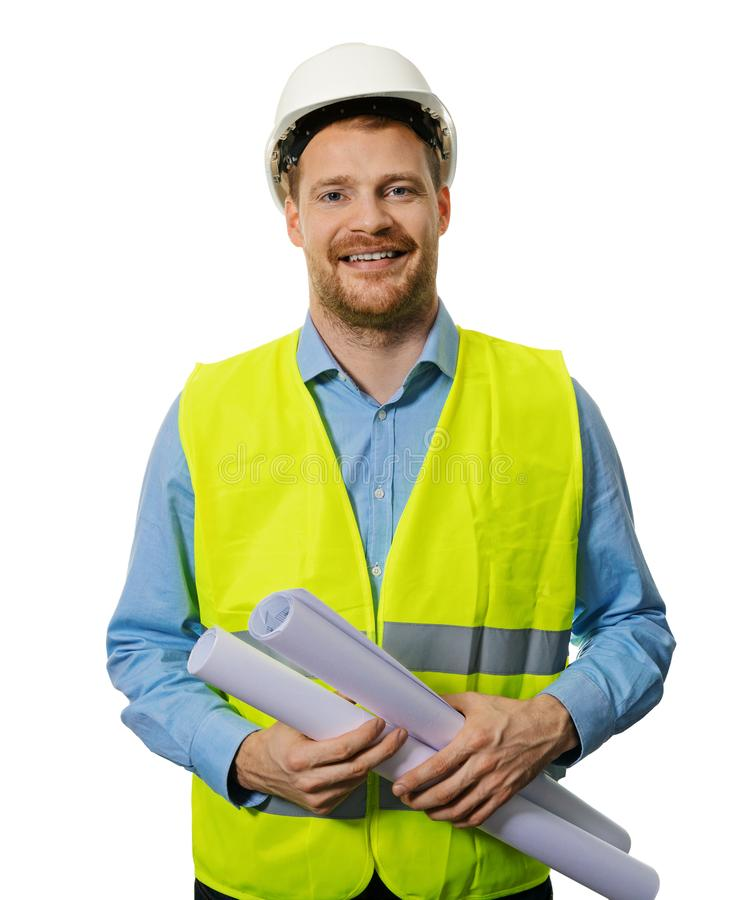 Construction manager or engineer with blueprint rolls royalty free stock images