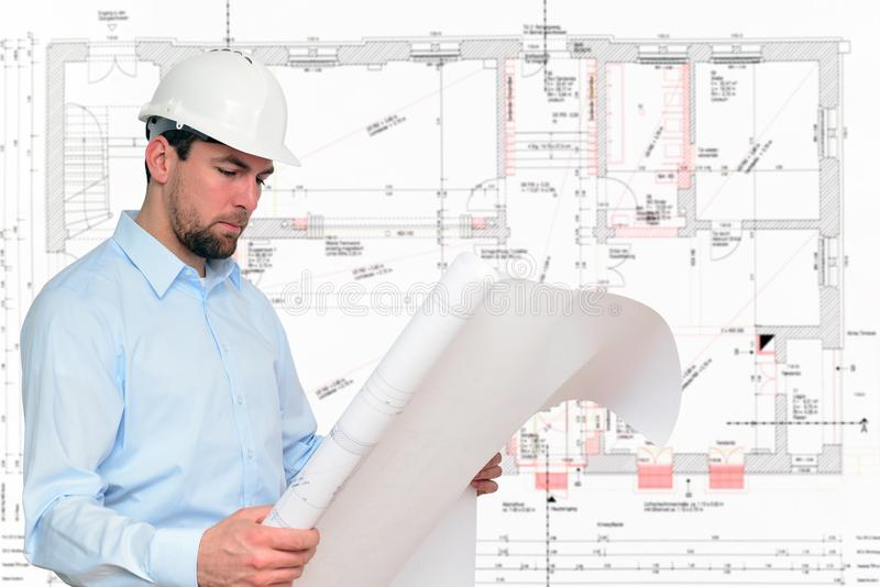 Construction manager/ engineer planning house construction royalty free stock photography