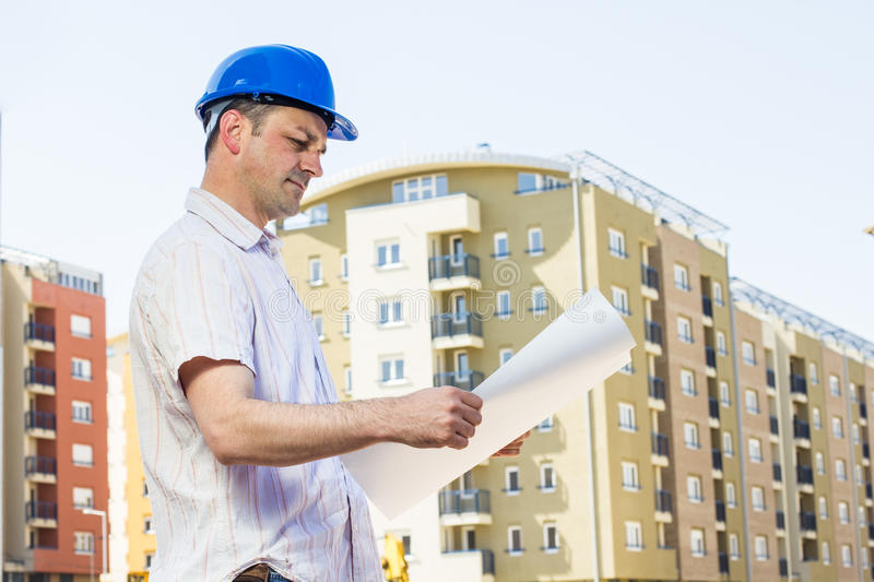 Construction manager looking project royalty free stock image