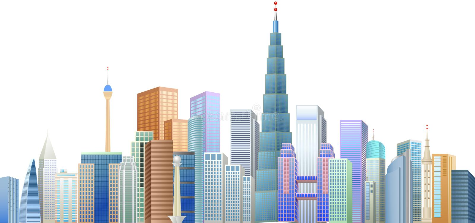 The construction of many buildings in the city center royalty free illustration