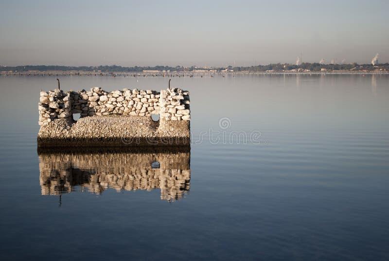 Construction in Mar Piccolo stock image
