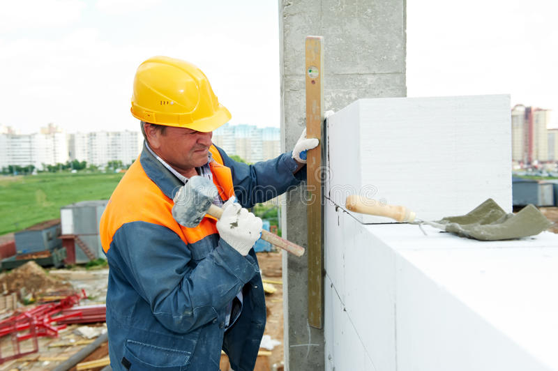 Construction mason worker stock image
