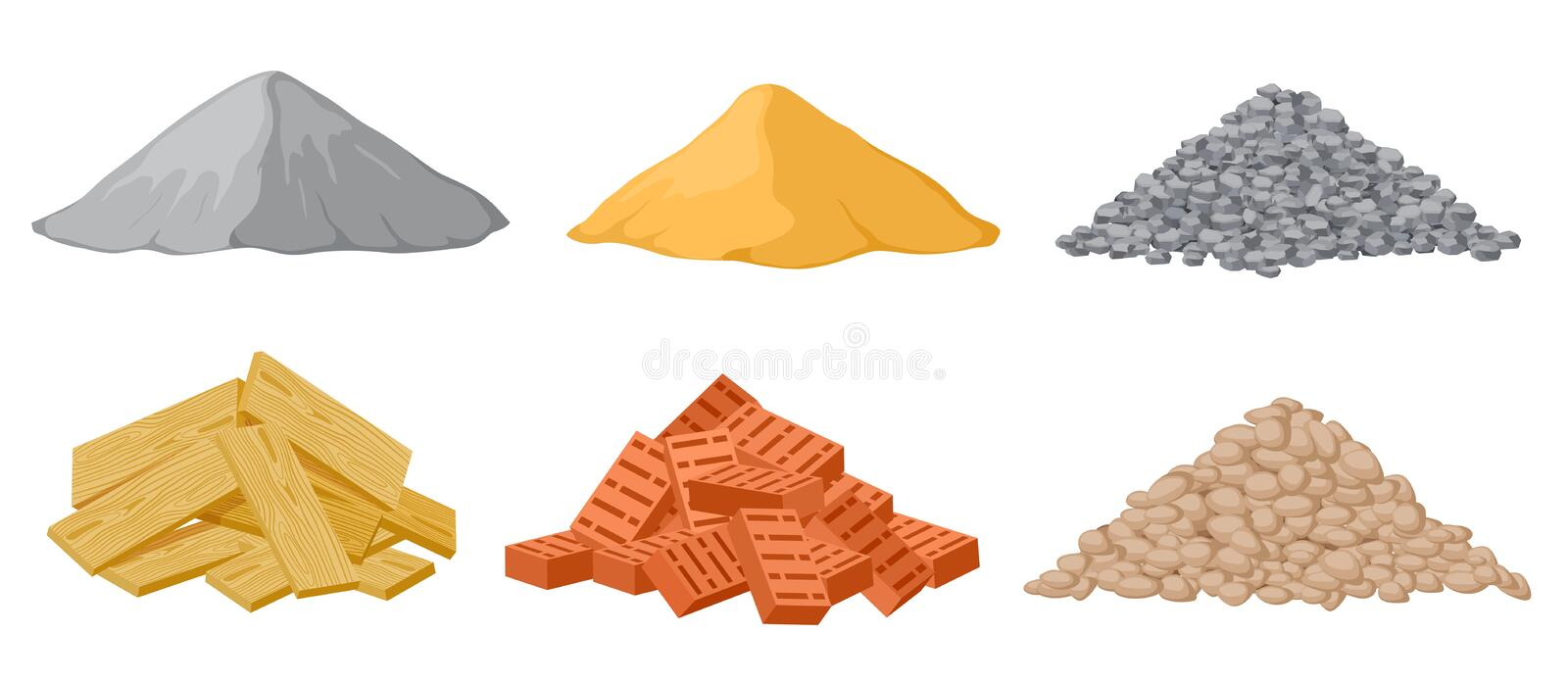 Construction material piles. Gypsum and sand, crushed and stones, red bricks and wooden planks heaps isolated vector set vector illustration