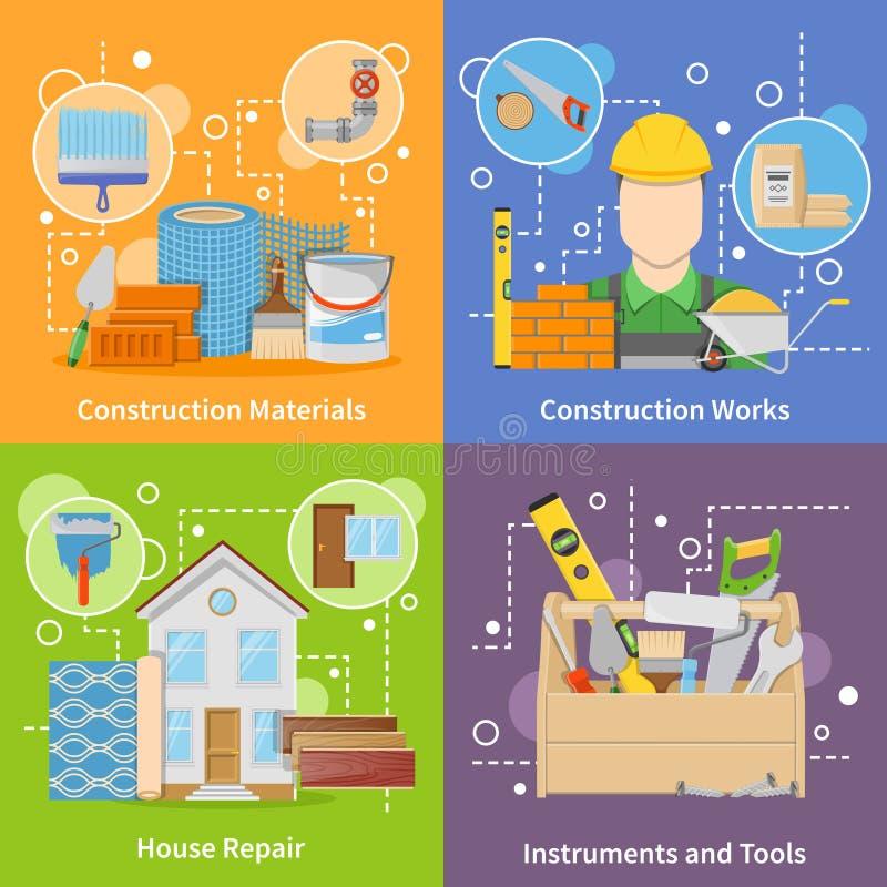 Construction Materials 2x2 Icons Set royalty free illustration