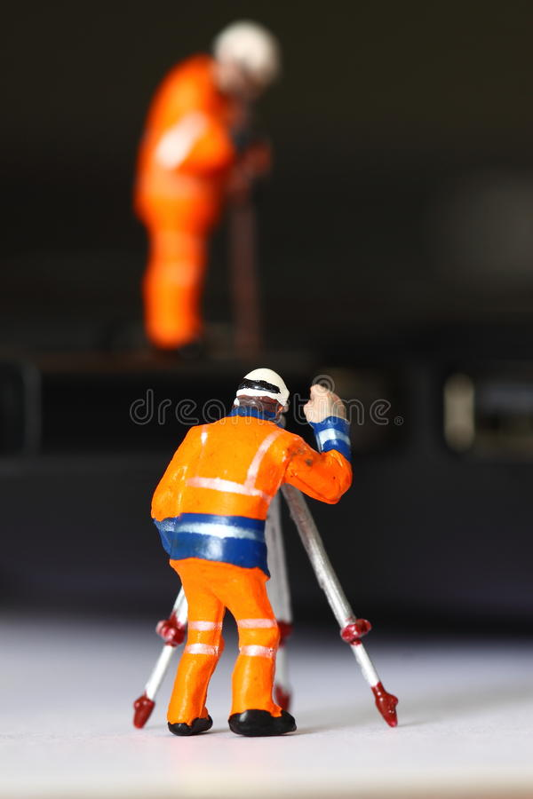 Construction model workers USB cable B stock image
