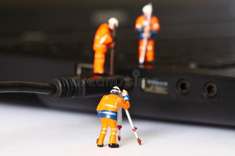 Construction model workers USB cable E stock images