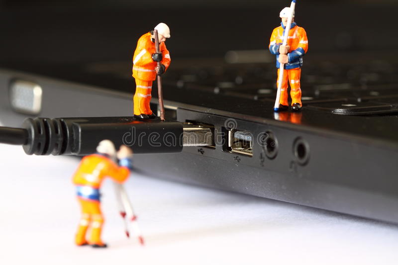 Construction model workers USB cable A stock photo