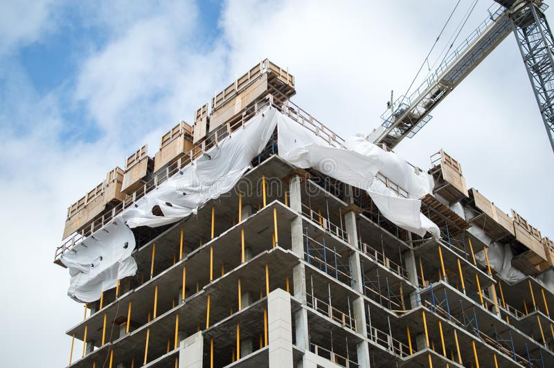 Construction of the modern condo buildings with huge windows and balconies in Montreal. Canada stock photo