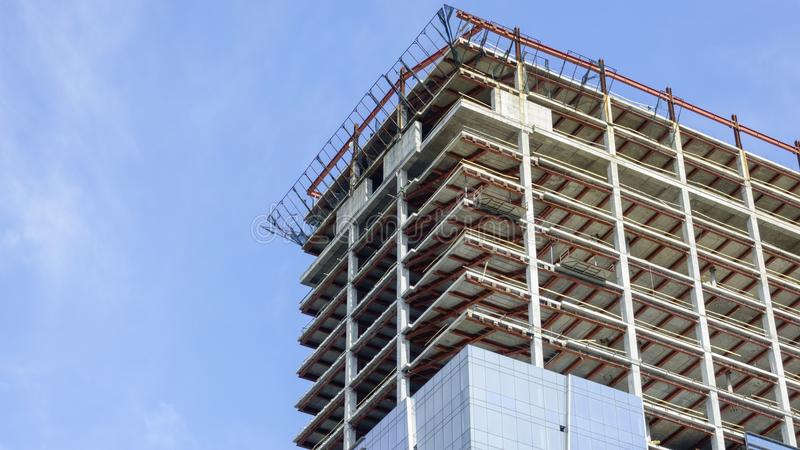 Construction of a modern building stock photography