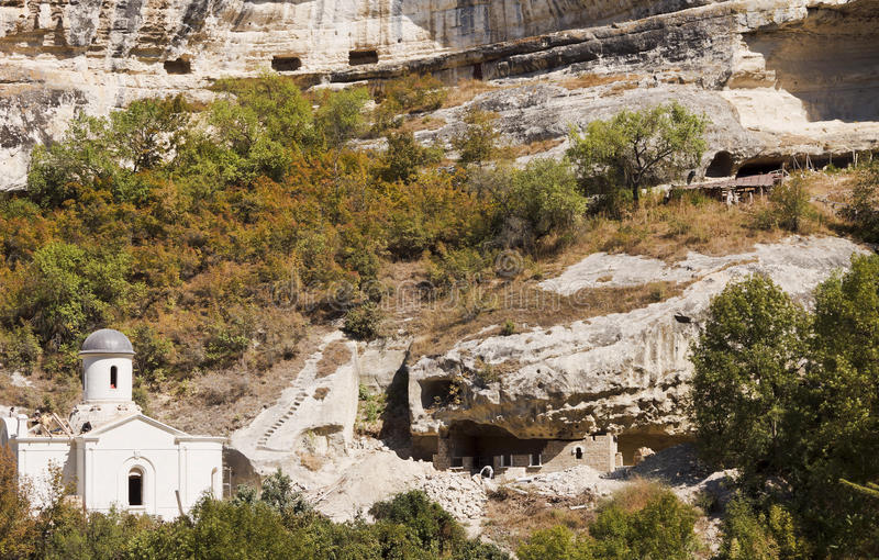 Construction in the mountains on the territory of the Holy Dormition monastery.Bakhchisarai. Crimea royalty free stock photography