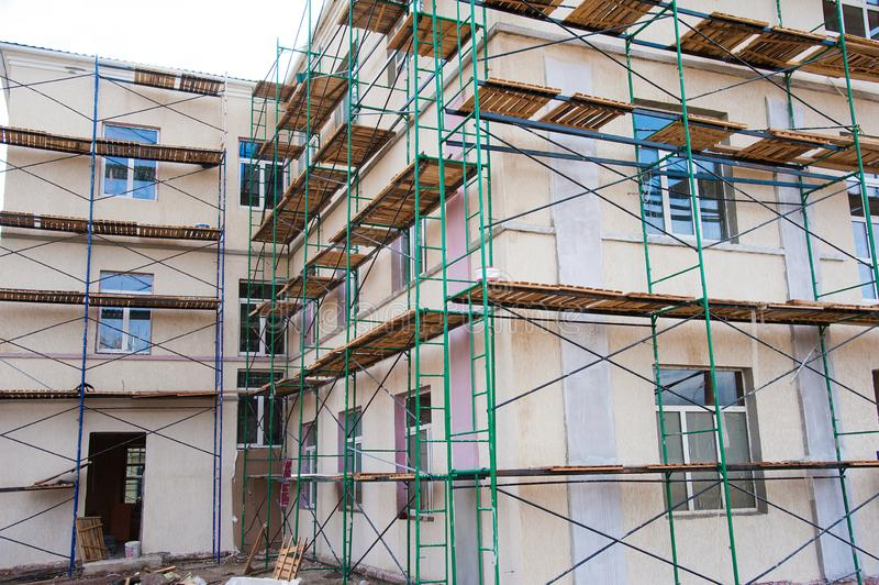 Construction of multi-storey residential building. Multi-storey building. Construction of multi-storey residential building stock photo